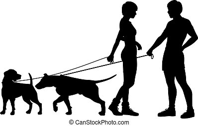 Dog people chat up - Editable vector silhouettes of a man...