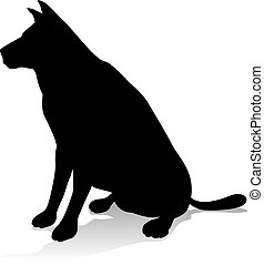 An animal silhouette of a pet dog
