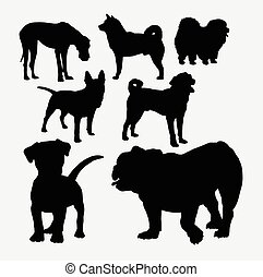 Dog pet animal silhouettes