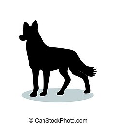 Dog pet black silhouette animal