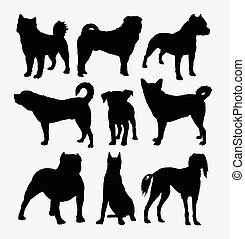 Dog pet collection silhouettes