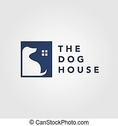 dog pet house home logo vector icon negative space