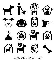 Dog, pet icons set- vet, dog's food