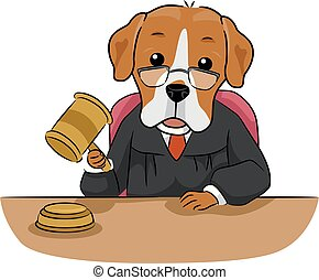 Illustration of a Dog Mascot Sitting as a Judge Using a Gavel