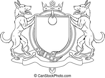 Dog pets heraldic shield coat of arms. Notice the collar...