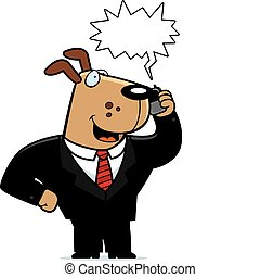 A cartoon dog in a suit talking on a cell phone.