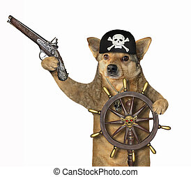 Dog pirate at helm of ship 4