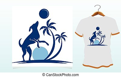Dog play with moon, Dog t shirt Vector Graphics to download