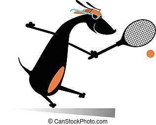 Dog playing tennis isolated