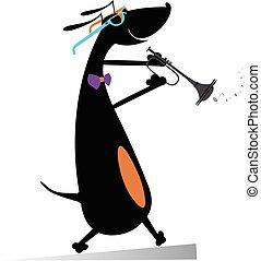 Dog plays on trumpet