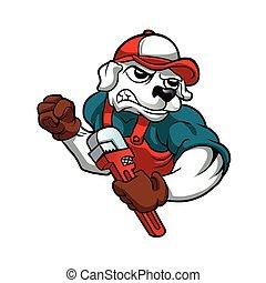 dog plumber holding a big wrench. vector illustration.