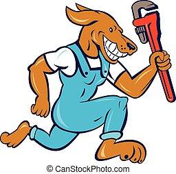 Dog Plumber Running Monkey Wrench Cartoon