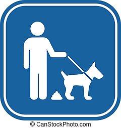 Dog pooping restriction vector sign