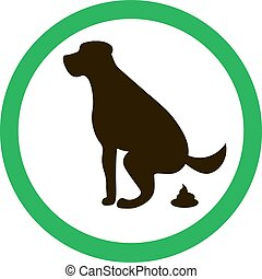 Dog pooping sign silhouette. Ecological cleanliness of the...