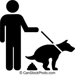 Dog pooping vector pictogram isolated on white background