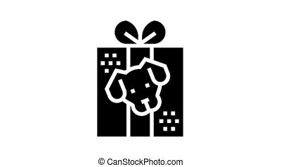 dog present donation animated glyph icon. dog present donation sign. isolated on white background