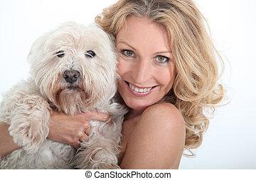dog., primo piano, donna, lei