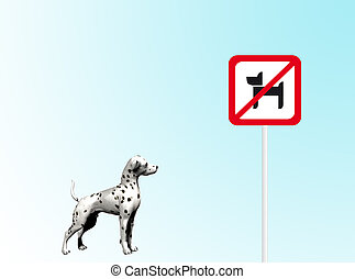 Dog prohibition - background with dog and prohibitions of...