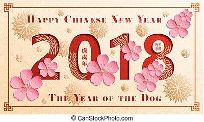 dog, prosperity., translation:, chinees, brengt, dog, jaar, jaar, nieuw, vrolijke