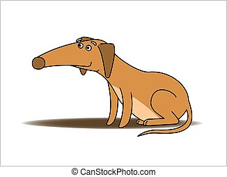 Dog. Red-haired Dachshund With a Long Nose. Funny Dachshund Sitting. Vector Image Isolated on white background.