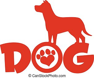 Dog Red Silhouette Over Text