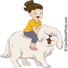 Dog Ride - Illustration of a Little Girl Sitting on the Back...