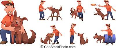 dog., rigolote, formation, ensemble, coloré, plat, chien, garçon, isolé, vecteur, dessin animé, characters., sien, ensemble., fond, illustration., sourire, jouer, blanc, heureux