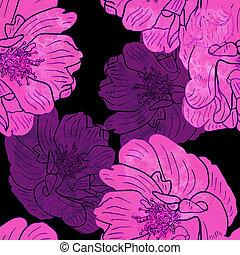 dog-roses, manufaktura, media, tekstylia, rozkwiecony, opakowanie, seamless, powitanie, mieszany, pamiątki, dzieło, bilety, pattern.