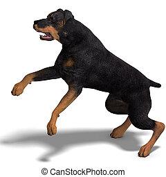 dog., rottweiler, af)knippen, op, vertolking, steegjes, schaduw, witte , 3d