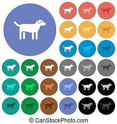 Dog round flat multi colored icons - Dog multi colored flat ...