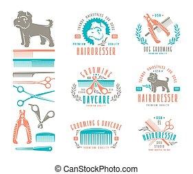 dog., sätta, frisör, elementara, design, märken