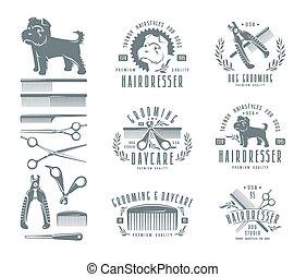 dog., satz, friseur, elemente, design, abzeichen