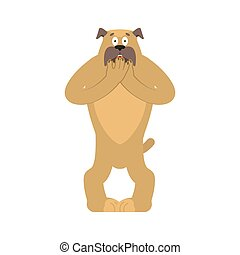 Dog scared OMG. Pet Oh my God emoji. Frightened bulldog. Vector illustration