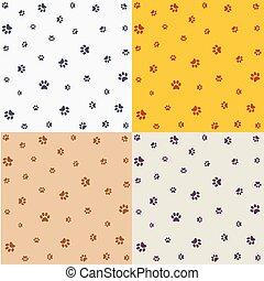 dog., seamless, padrão, pegadas, jogo, gato, animal