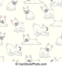 Dog seamless pattern french bulldog paw vector repeat background