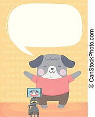 Dog Self Video Vlogger Speech Bubble Illustration
