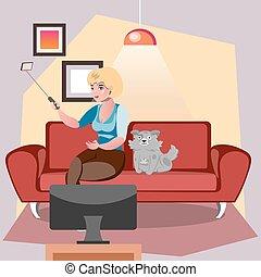 dog., selfie, vecteur, girl