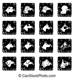 Dog set icons, grunge style