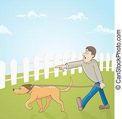 dog., seu, ilustração, vetorial, ensinando, caricatura, homem