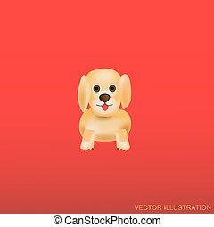 dog., sfondo rosso, illustration.