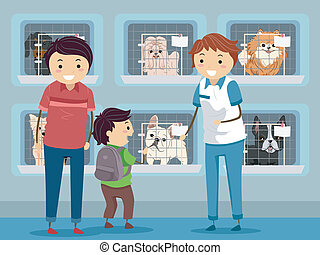 Dog Shelter Visit - Illustration of a Family Visiting a Dog ...