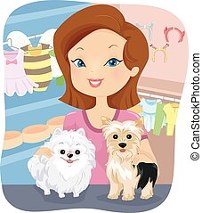 Dog Shop - Illustration Featuring a Girl Working in a Shop...