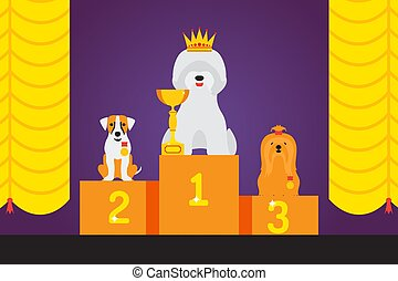 Dog show award, cute pet winner, animal grooming competition podium, vector illustration