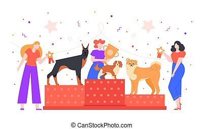 Dog show award. Female owner holding trophy golden goblet, dogs winning prize on pet show, dogs exhibition and pedestal rewarding colorful vector illustration. Pet owners competition concept