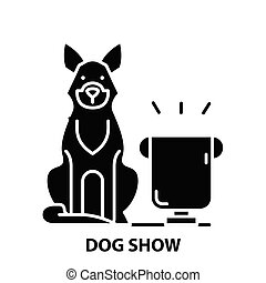 dog show icon, black vector sign with editable strokes, concept illustration