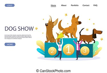 Dog show vector website landing page design template