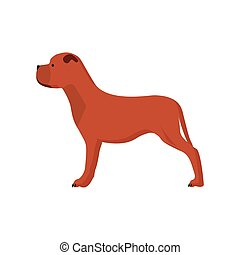 Dog side view vector icon illustration pet. cute animal friend puppy cartoon silhouette. Brown flat domestic friendship