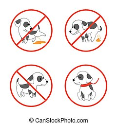 Dog signs. No pissing and pooping vector icon