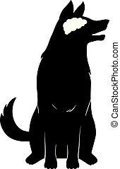 Dog Silhouette Brain Illustration