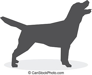 Dog silhouette on a white background. Vector illustration
